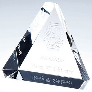 Optical Crystal Beveled Triangle Paperweight