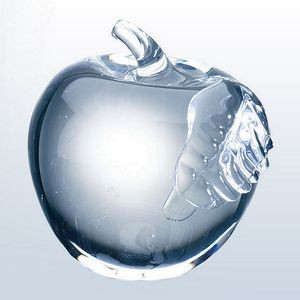 "Molten Glass Apple Paperweight with Clear Leaf (2-3/4"")"