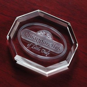 "Crystal Beveled Octagon Paperweight Award (3 1/2""x2 7/8""x3/4"")"