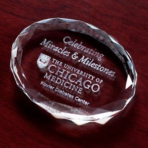"Crystal Faceted Oval Paperweight Award (3 7/8""x3""x3/4"")"