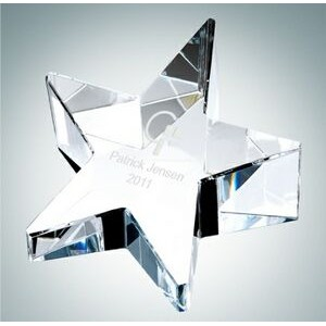 Slant Star Optical Crystal Paper Weight